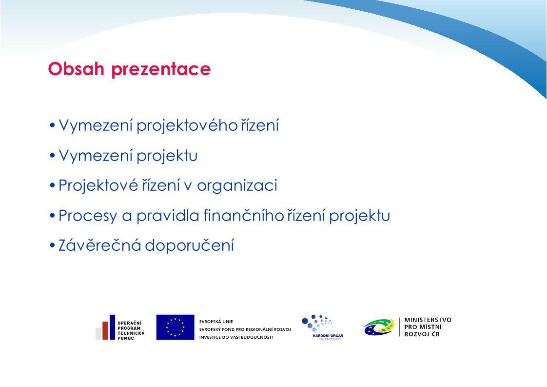 Obsah prezentace Vymezení projektového řízení Vymezení projektu