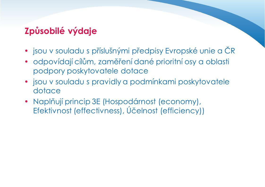Způsobilé výdaje jsou v souladu s příslušnými předpisy Evropské unie a ČR.