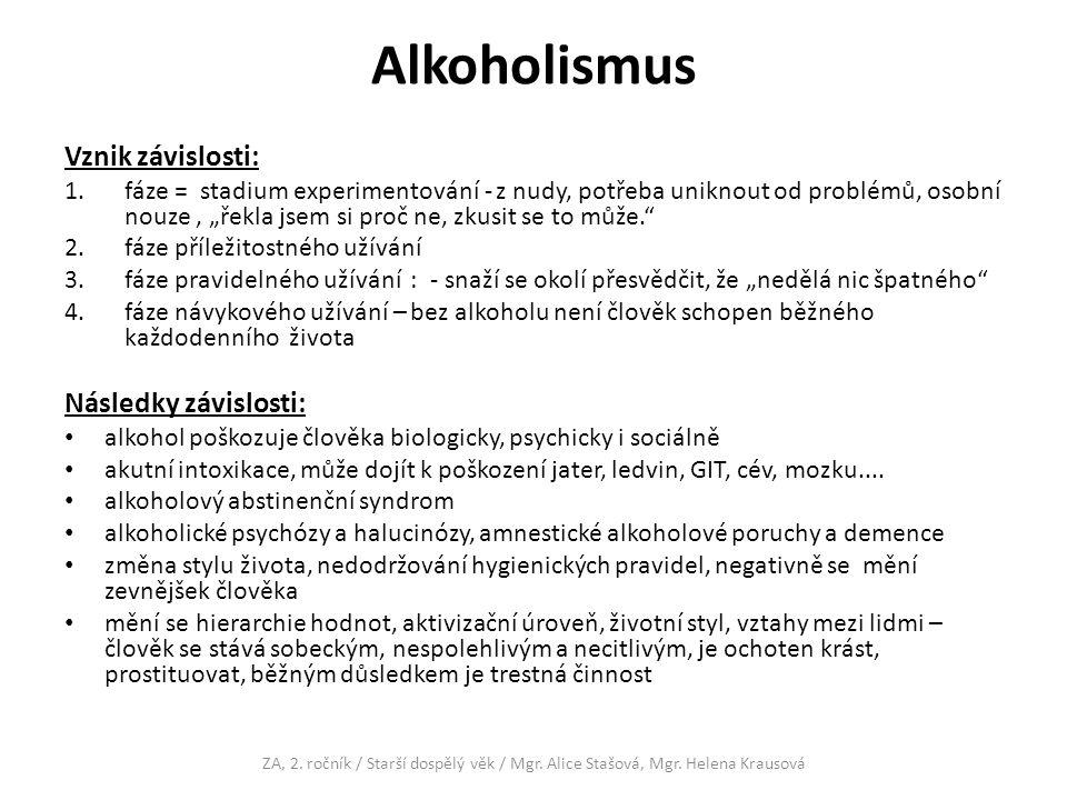 Alkoholismus Vznik závislosti: Následky závislosti: