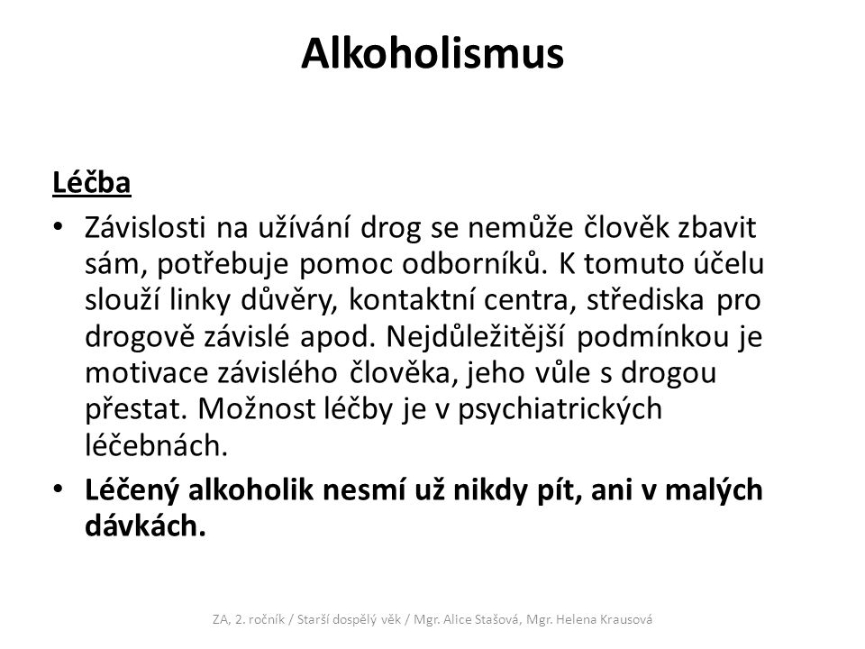Alkoholismus Léčba.
