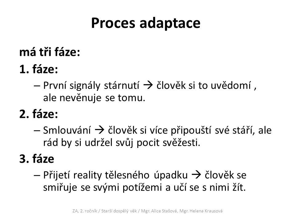 Proces adaptace má tři fáze: 1. fáze: 2. fáze: 3. fáze