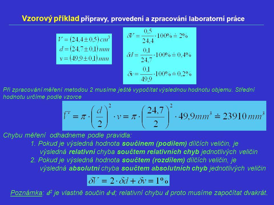 Vzorový příklad přípravy, provedení a zpracování laboratorní práce