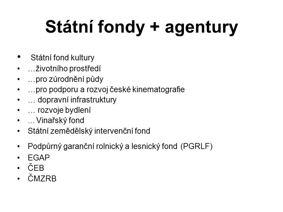 Státní fondy + agentury