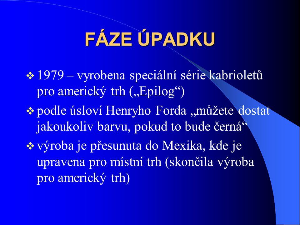 """FÁZE ÚPADKU 1979 – vyrobena speciální série kabrioletů pro americký trh (""""Epilog )"""