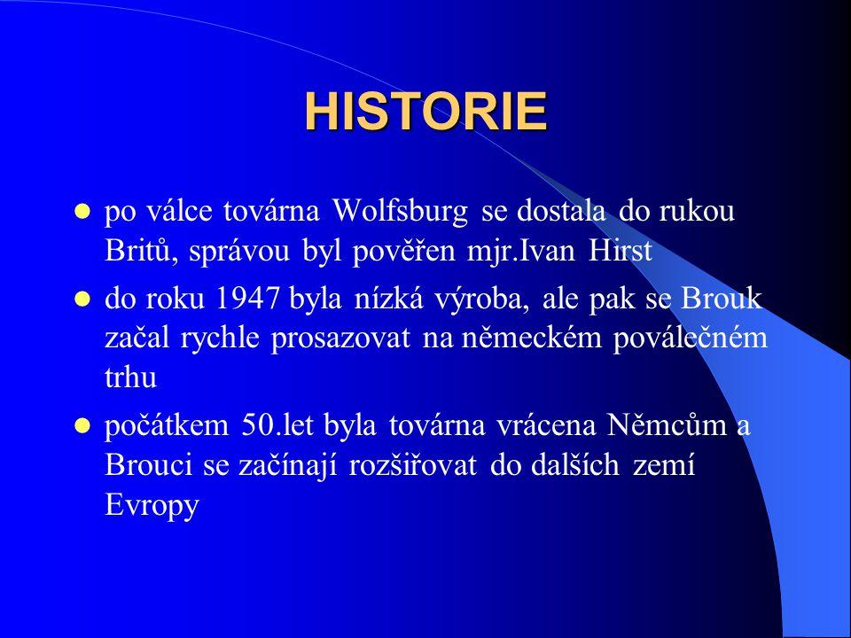 HISTORIE po válce továrna Wolfsburg se dostala do rukou Britů, správou byl pověřen mjr.Ivan Hirst.