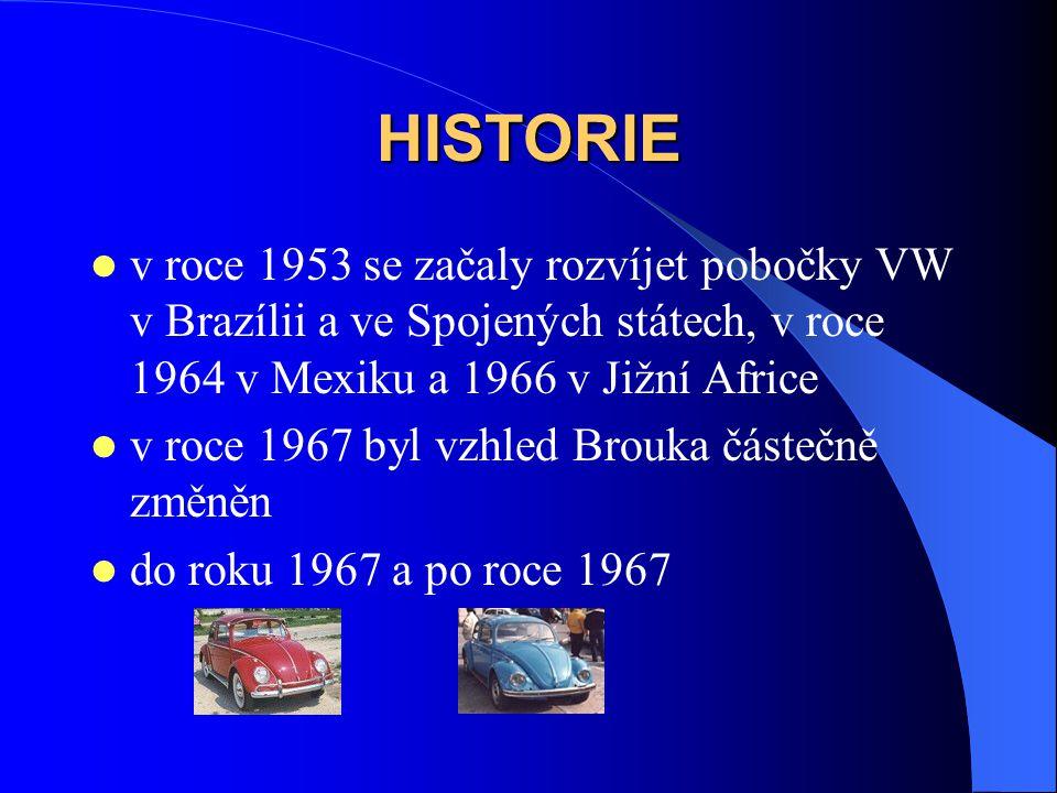 HISTORIE v roce 1953 se začaly rozvíjet pobočky VW v Brazílii a ve Spojených státech, v roce 1964 v Mexiku a 1966 v Jižní Africe.