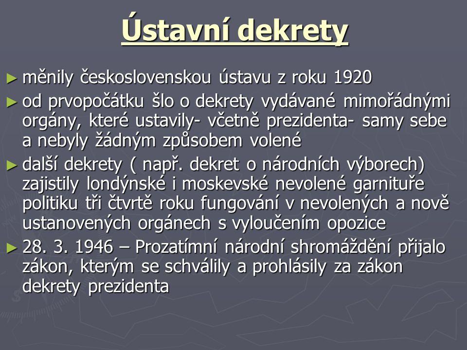 Ústavní dekrety měnily československou ústavu z roku 1920