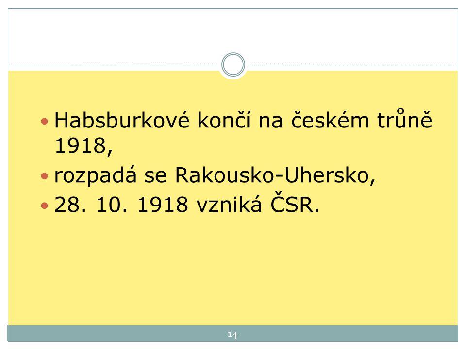 Habsburkové končí na českém trůně 1918,