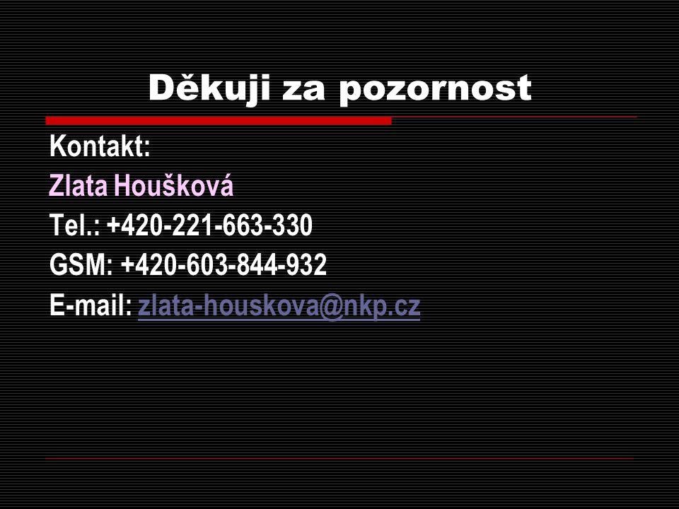 Děkuji za pozornost Kontakt: Zlata Houšková Tel.: +420-221-663-330
