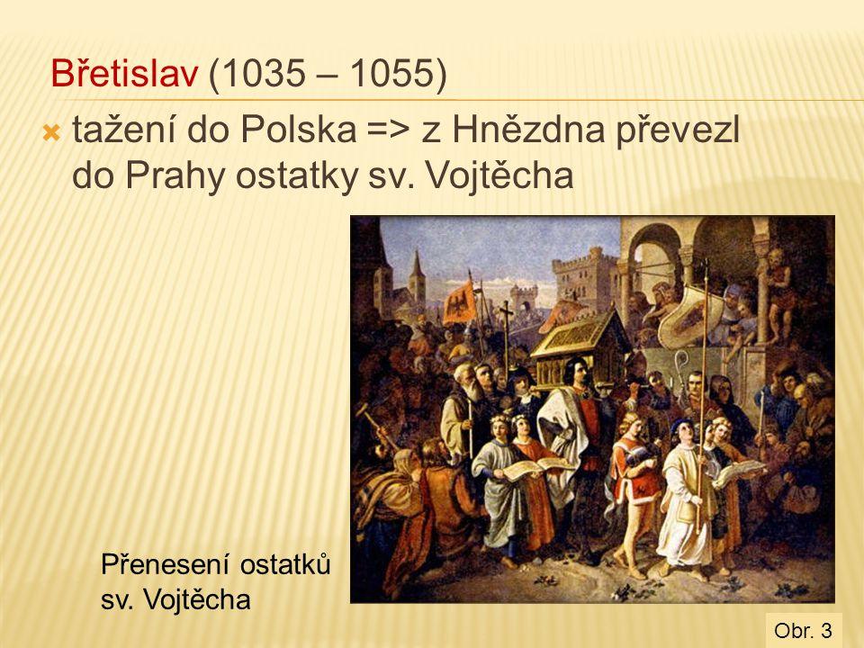tažení do Polska => z Hnězdna převezl do Prahy ostatky sv. Vojtěcha