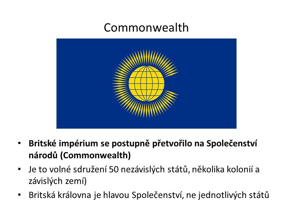Commonwealth Britské impérium se postupně přetvořilo na Společenství národů (Commonwealth)
