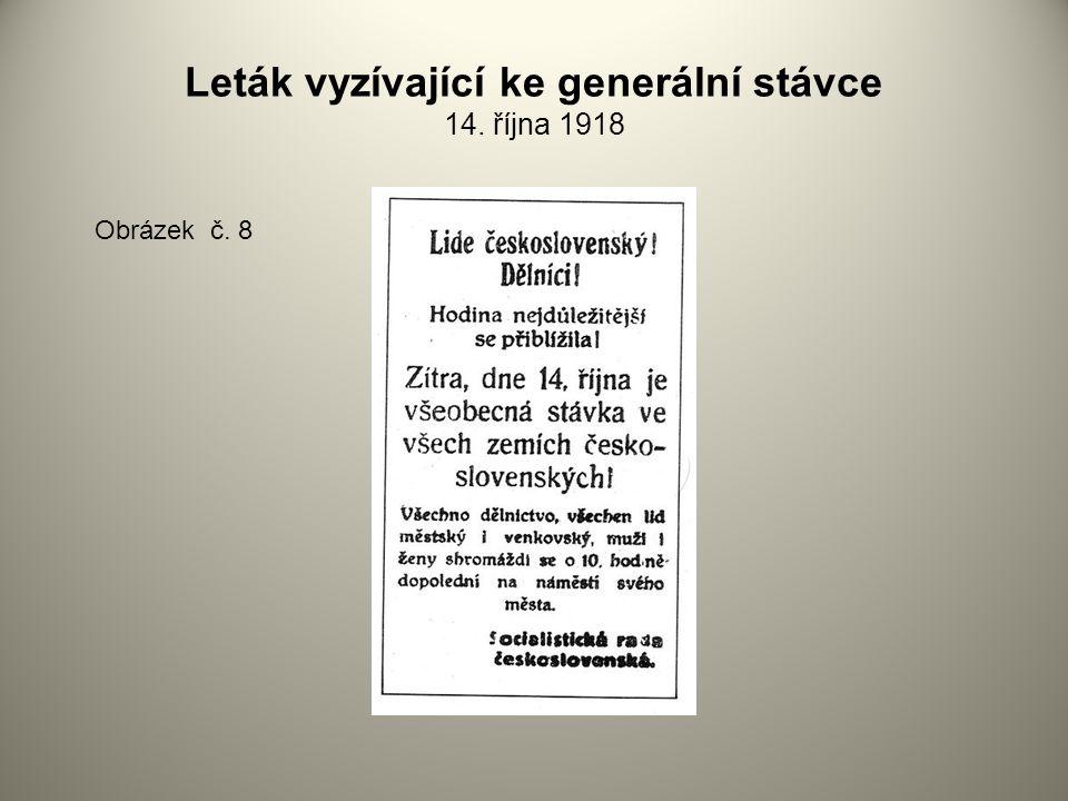 Leták vyzívající ke generální stávce 14. října 1918