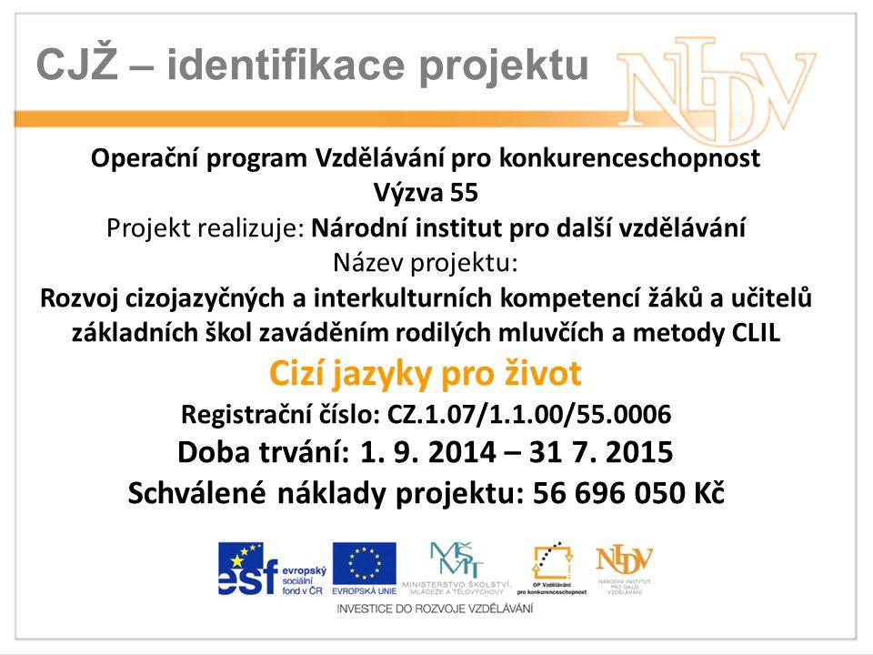 CJŽ – identifikace projektu