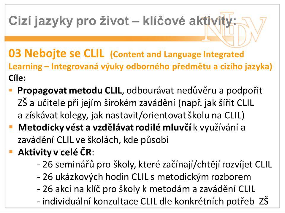 Cizí jazyky pro život – klíčové aktivity:
