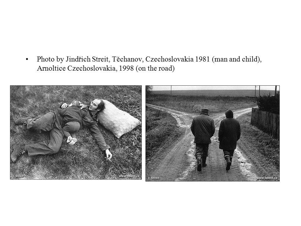 Photo by Jindřich Streit, Těchanov, Czechoslovakia 1981 (man and child), Arnoltice Czechoslovakia, 1998 (on the road)