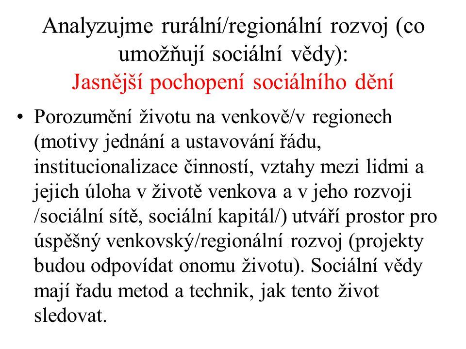 Analyzujme rurální/regionální rozvoj (co umožňují sociální vědy): Jasnější pochopení sociálního dění