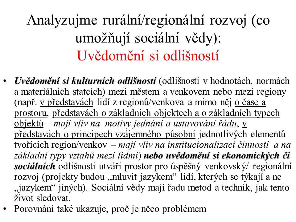 Analyzujme rurální/regionální rozvoj (co umožňují sociální vědy): Uvědomění si odlišností