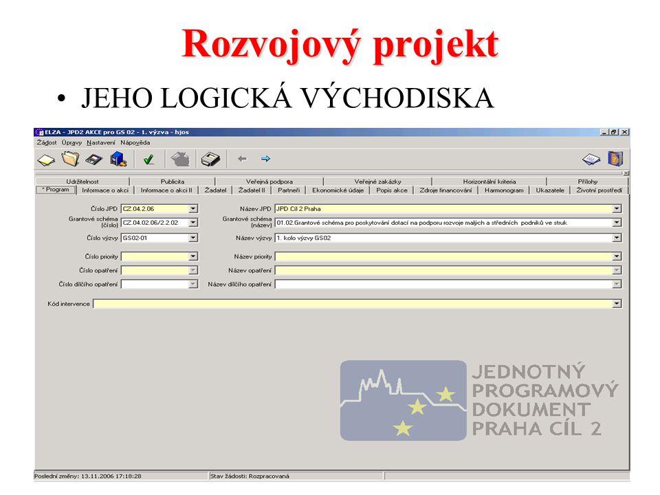 Rozvojový projekt JEHO LOGICKÁ VÝCHODISKA