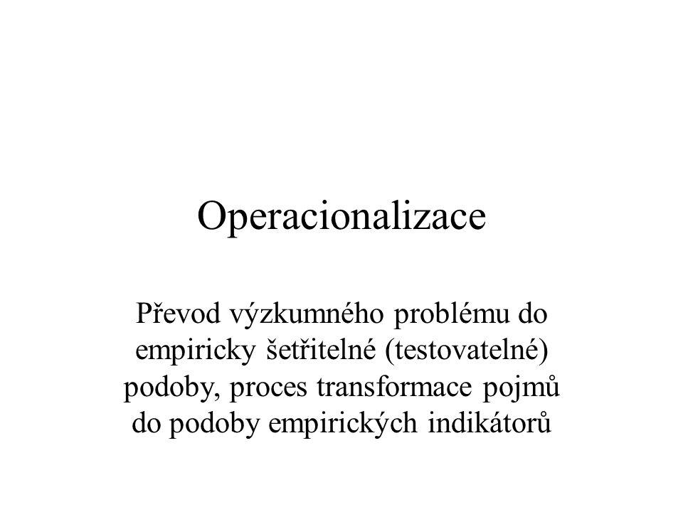 Operacionalizace Převod výzkumného problému do empiricky šetřitelné (testovatelné) podoby, proces transformace pojmů do podoby empirických indikátorů.
