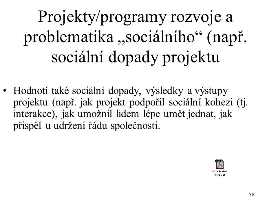 """Projekty/programy rozvoje a problematika """"sociálního (např"""