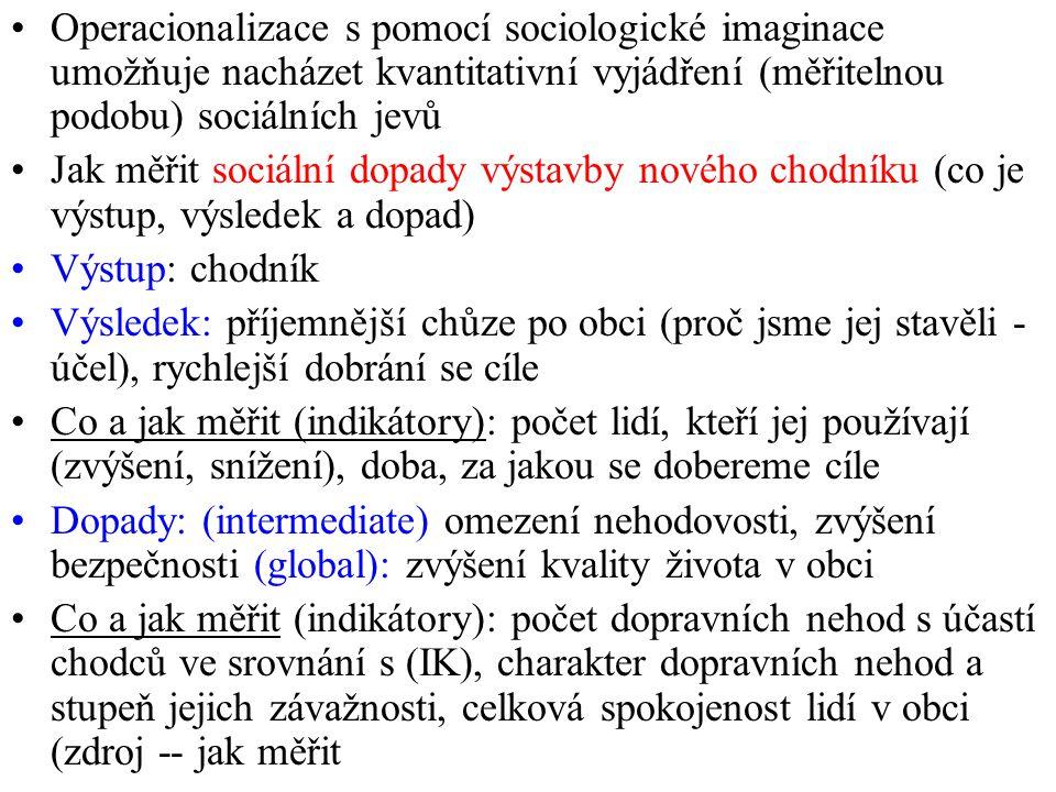 Operacionalizace s pomocí sociologické imaginace umožňuje nacházet kvantitativní vyjádření (měřitelnou podobu) sociálních jevů