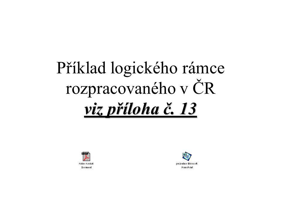 Příklad logického rámce rozpracovaného v ČR viz příloha č. 13