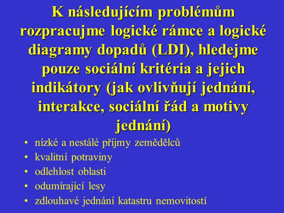 K následujícím problémům rozpracujme logické rámce a logické diagramy dopadů (LDI), hledejme pouze sociální kritéria a jejich indikátory (jak ovlivňují jednání, interakce, sociální řád a motivy jednání)