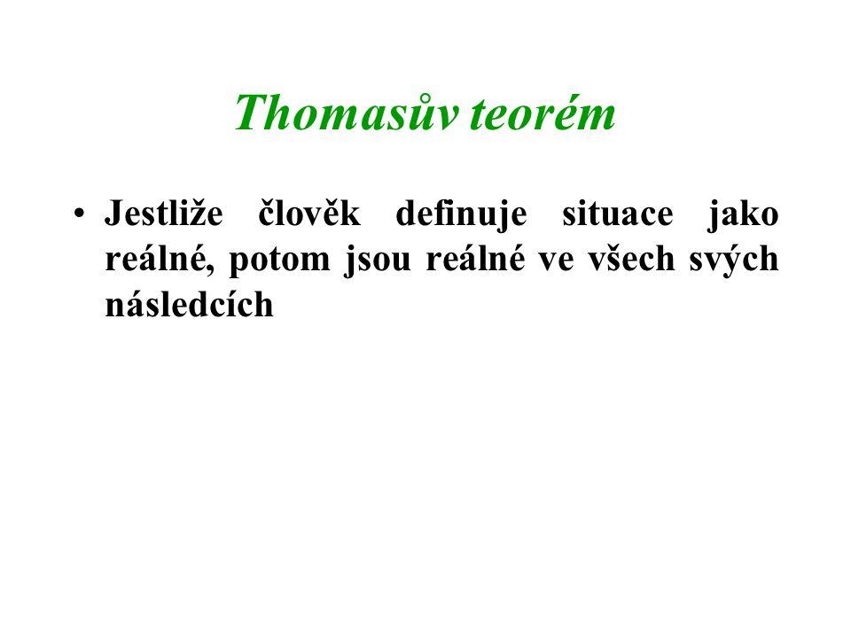 Thomasův teorém Jestliže člověk definuje situace jako reálné, potom jsou reálné ve všech svých následcích.