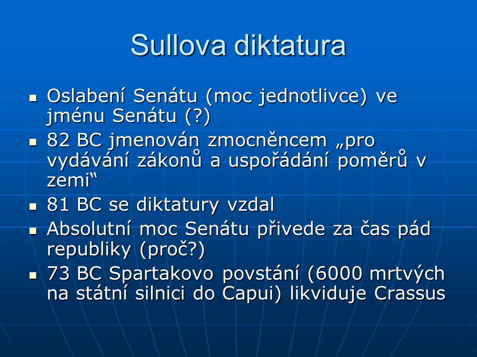 """Sullova diktatura Oslabení Senátu (moc jednotlivce) ve jménu Senátu ( ) 82 BC jmenován zmocněncem """"pro vydávání zákonů a uspořádání poměrů v zemi"""