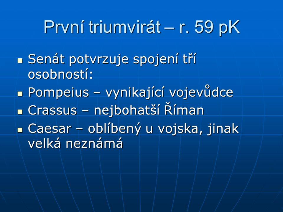 První triumvirát – r. 59 pK Senát potvrzuje spojení tří osobností: