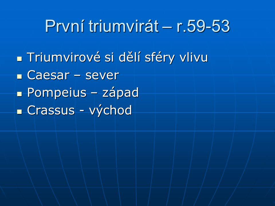 První triumvirát – r.59-53 Triumvirové si dělí sféry vlivu