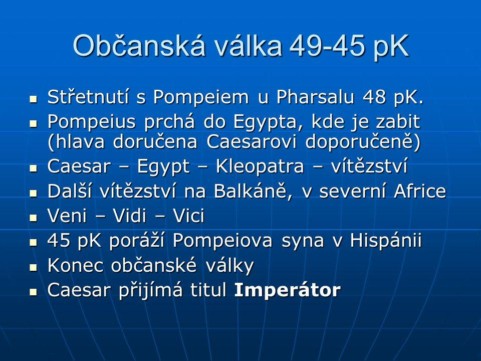 Občanská válka 49-45 pK Střetnutí s Pompeiem u Pharsalu 48 pK.