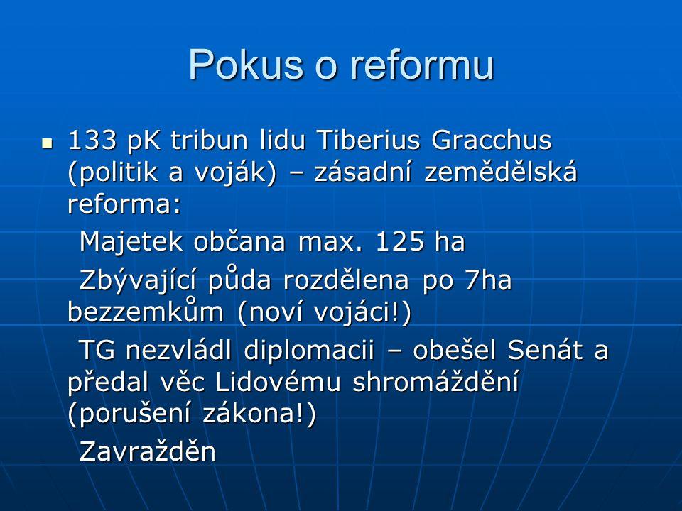 Pokus o reformu 133 pK tribun lidu Tiberius Gracchus (politik a voják) – zásadní zemědělská reforma: