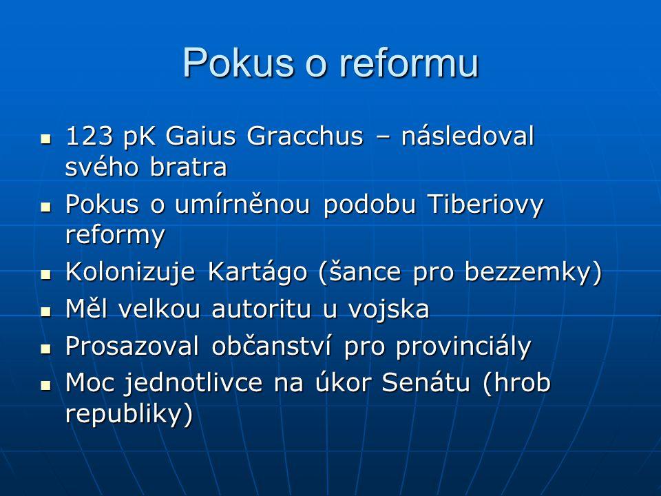 Pokus o reformu 123 pK Gaius Gracchus – následoval svého bratra