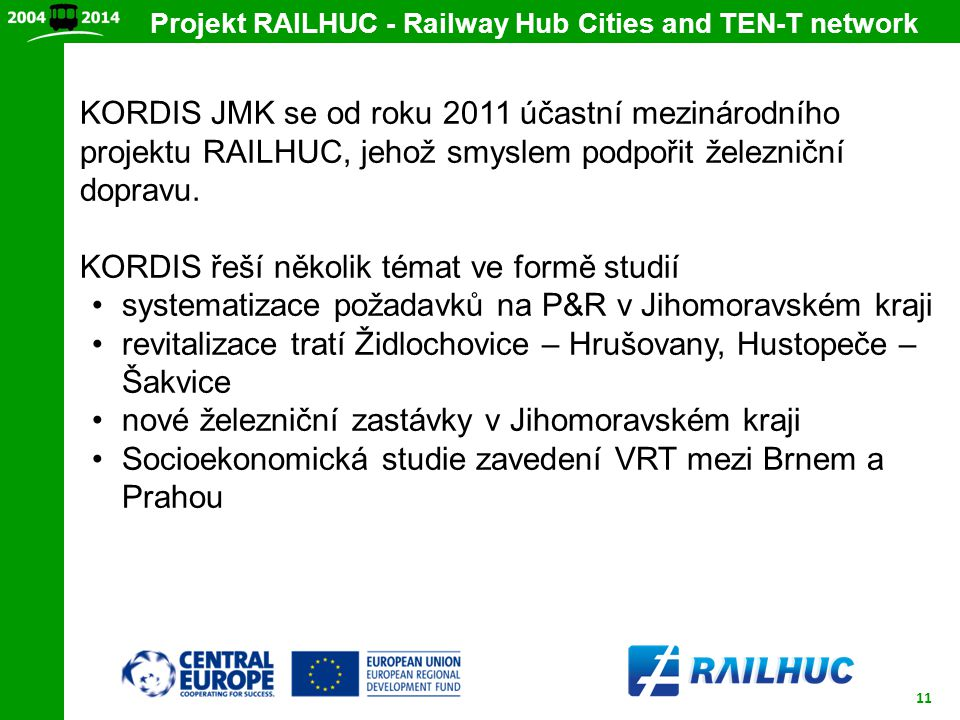 Projekt RAILHUC - Railway Hub Cities and TEN-T network