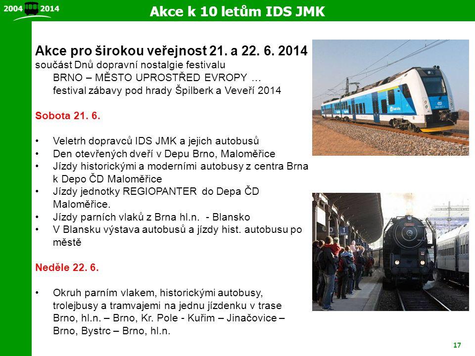 Akce k 10 letům IDS JMK Akce pro širokou veřejnost 21. a 22. 6. 2014