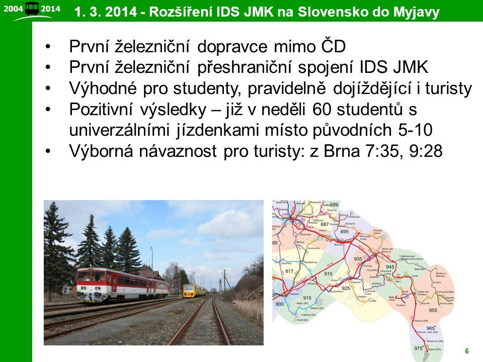 1. 3. 2014 - Rozšíření IDS JMK na Slovensko do Myjavy