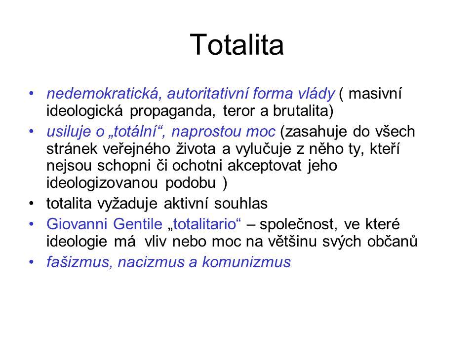 Totalita nedemokratická, autoritativní forma vlády ( masivní ideologická propaganda, teror a brutalita)