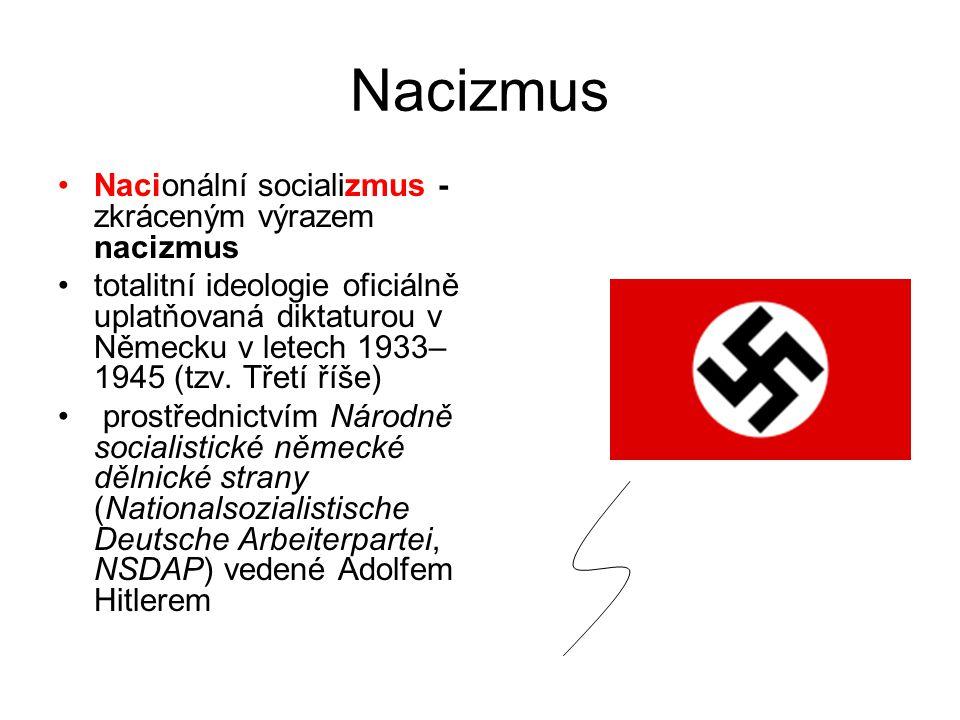 Nacizmus Nacionální socializmus -zkráceným výrazem nacizmus