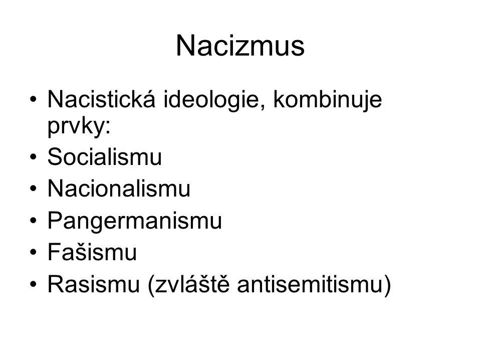 Nacizmus Nacistická ideologie, kombinuje prvky: Socialismu