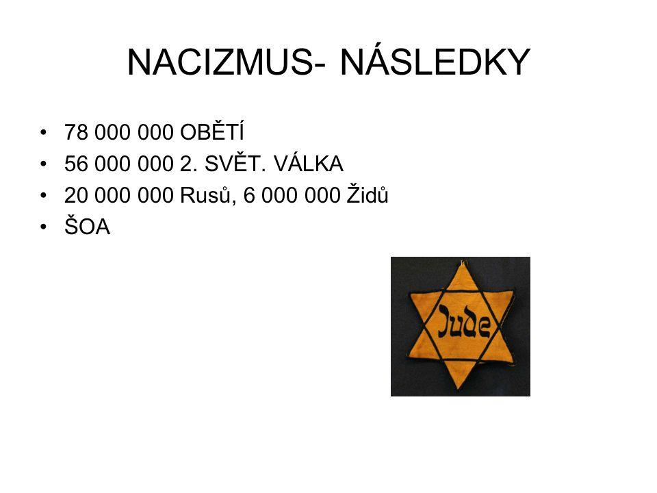 NACIZMUS- NÁSLEDKY 78 000 000 OBĚTÍ 56 000 000 2. SVĚT. VÁLKA
