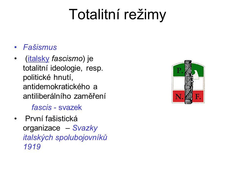 Totalitní režimy Fašismus