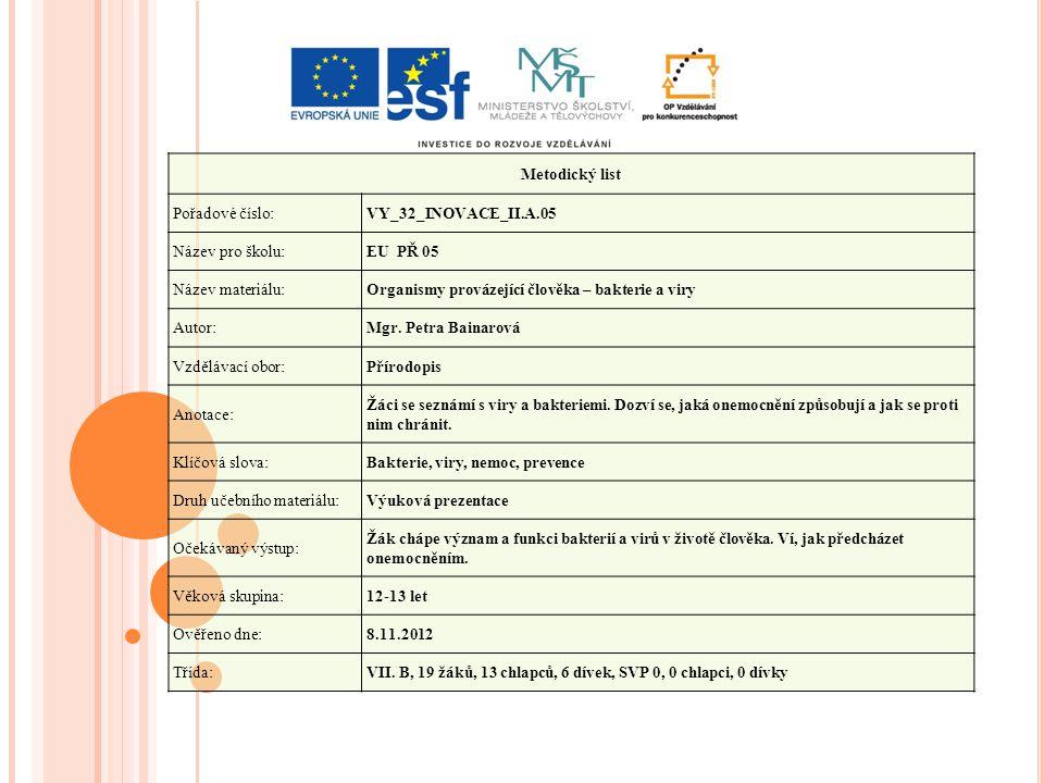 Metodický list Pořadové číslo: VY_32_INOVACE_II.A.05. Název pro školu: EU PŘ 05. Název materiálu: