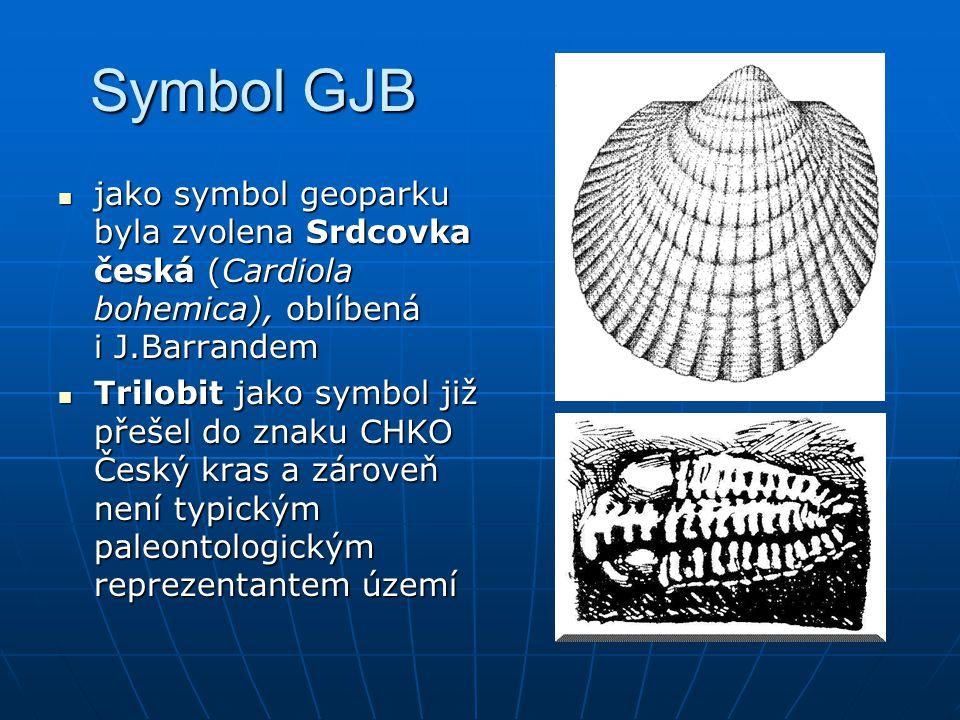 Symbol GJB jako symbol geoparku byla zvolena Srdcovka česká (Cardiola bohemica), oblíbená i J.Barrandem.