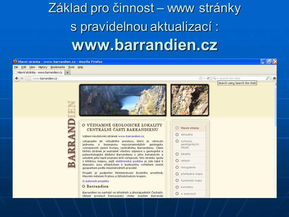 Základ pro činnost – www stránky s pravidelnou aktualizací : www