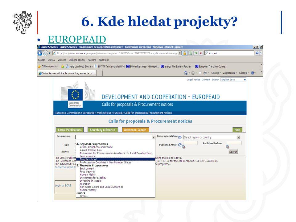 6. Kde hledat projekty EUROPEAID