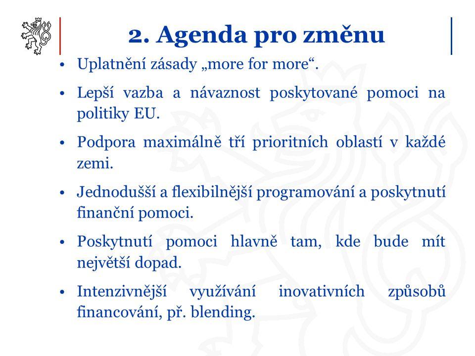 """2. Agenda pro změnu Uplatnění zásady """"more for more ."""