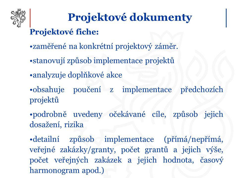 Projektové dokumenty Projektové fiche: