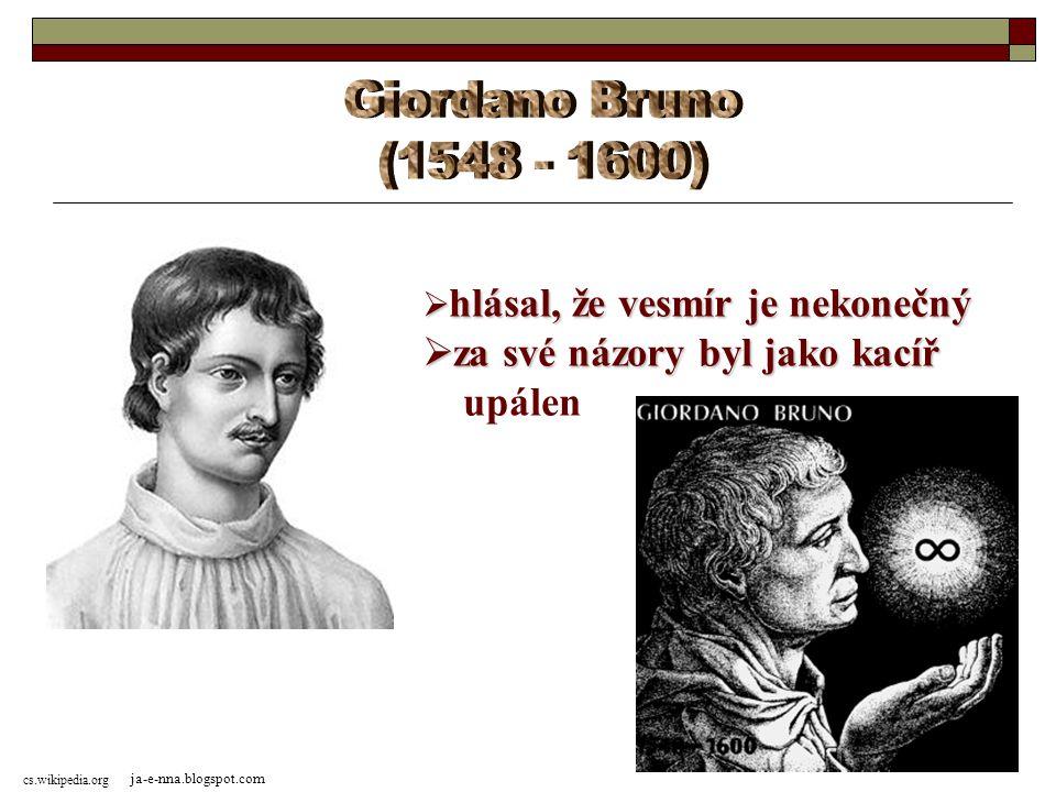 Giordano Bruno (1548 - 1600) za své názory byl jako kacíř upálen