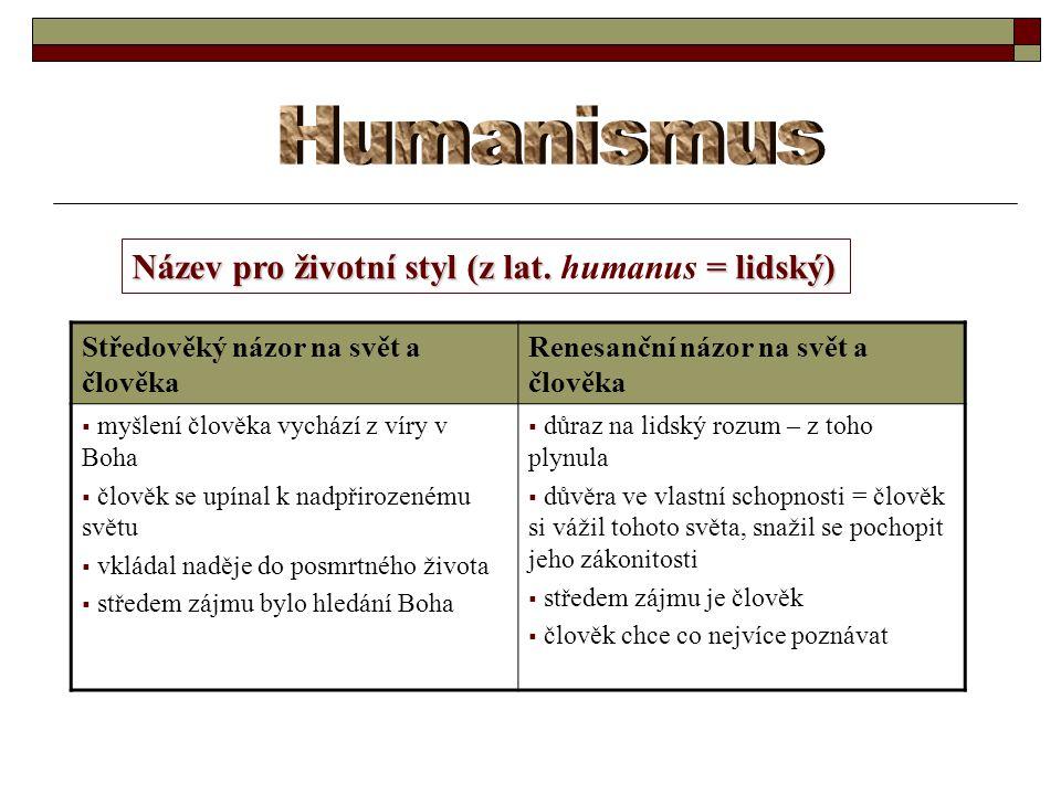 Humanismus Název pro životní styl (z lat. humanus = lidský)
